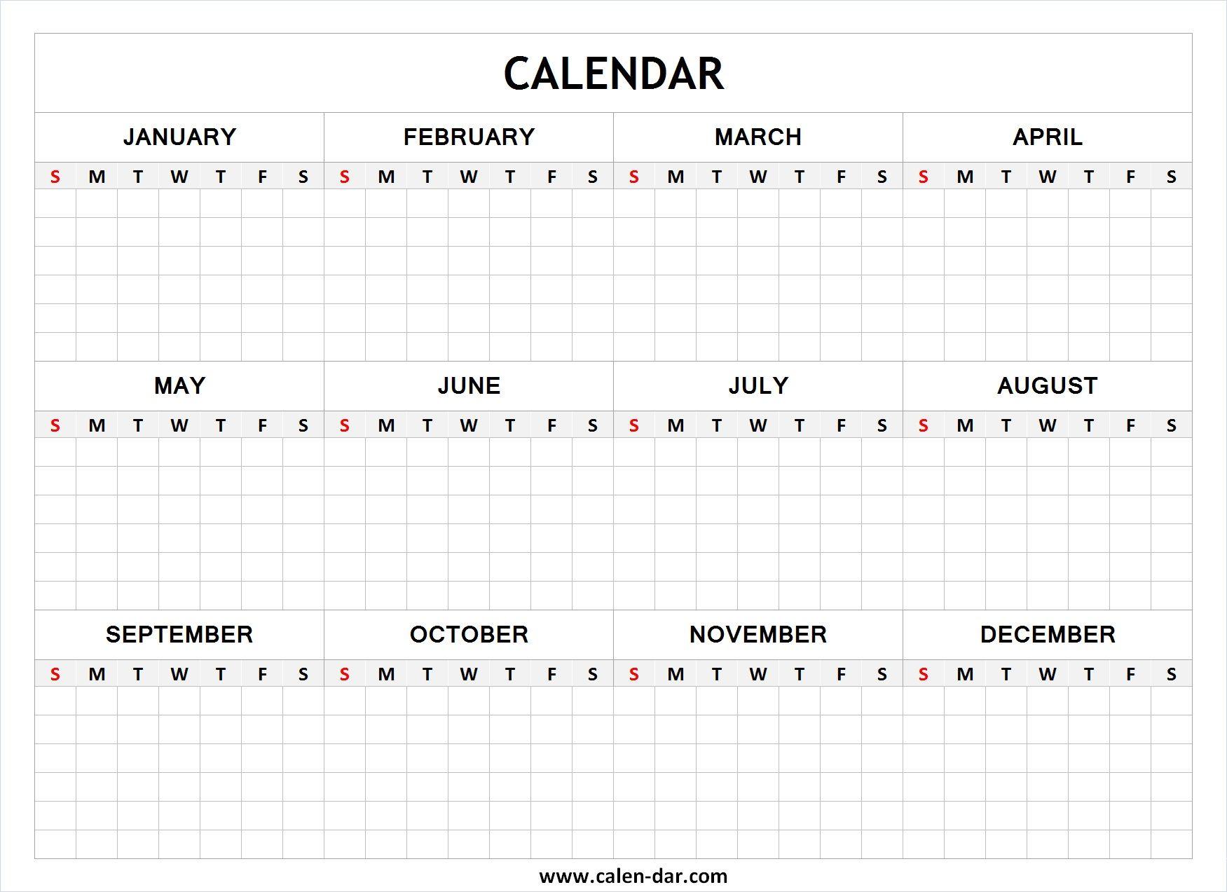 Blank Year Calendar | Blank Calendar | Pinterest