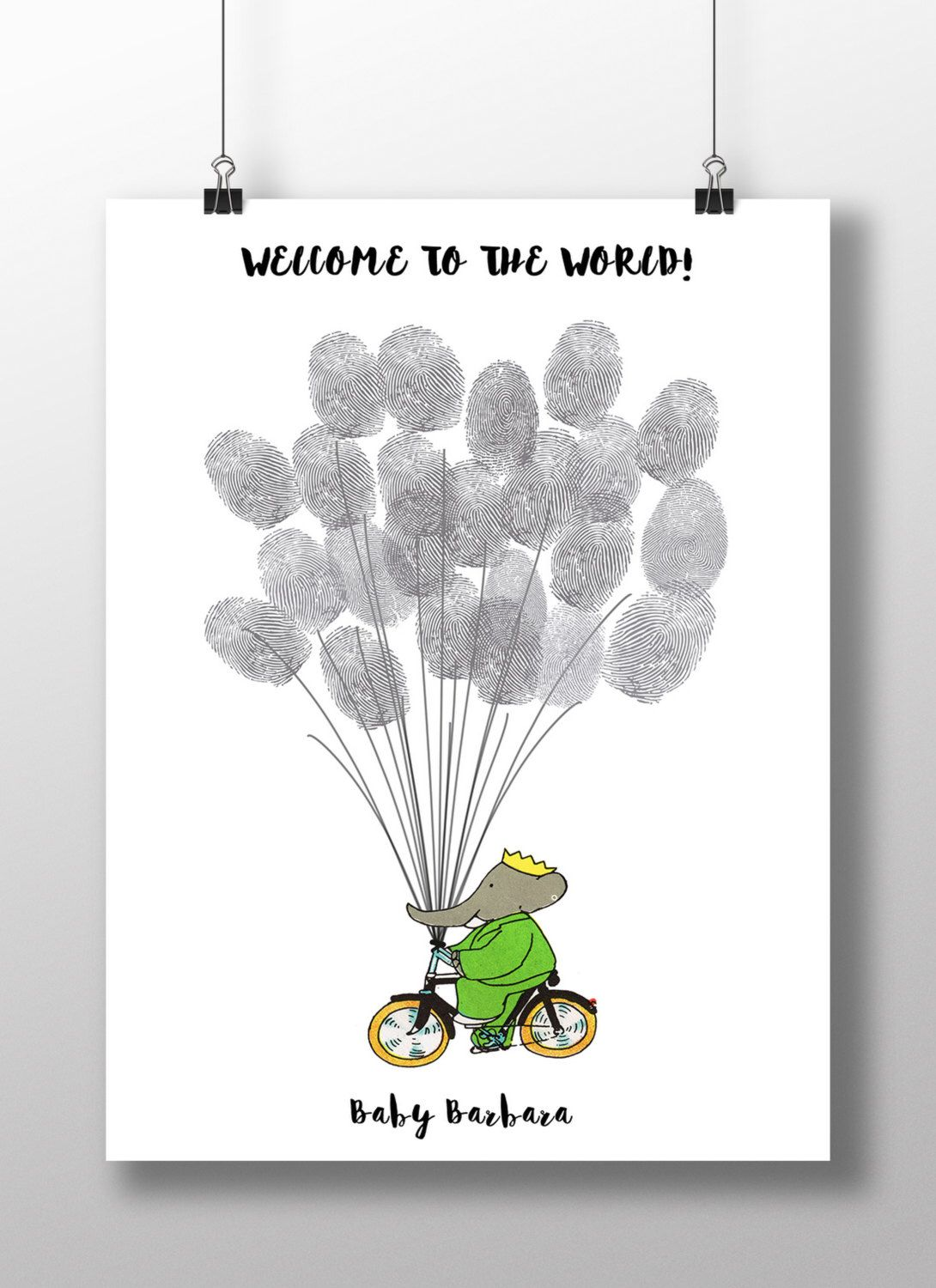 Baby Shower Guest Book Alternative, Babar The Elephant Baby Shower  Thumbprint Guestbook Poster, Elephant