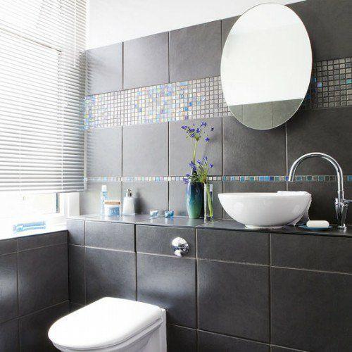 dunkle badezimmer design ideen - dunkelgraue fliesen Bathroom - badezimmer design ideen