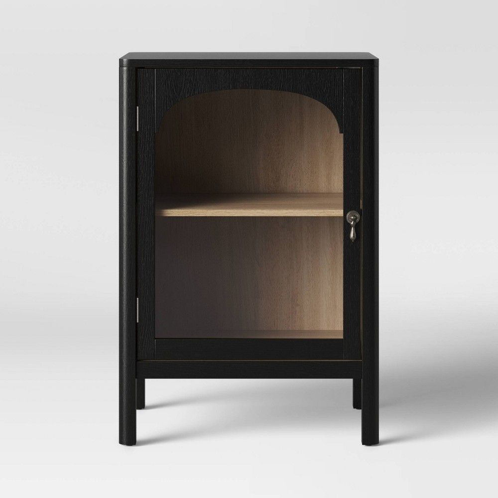 New Bedford 1 Door Cabinet Black Threshold Decorative Storage Cabinets Wood Rattan Storage Furniture