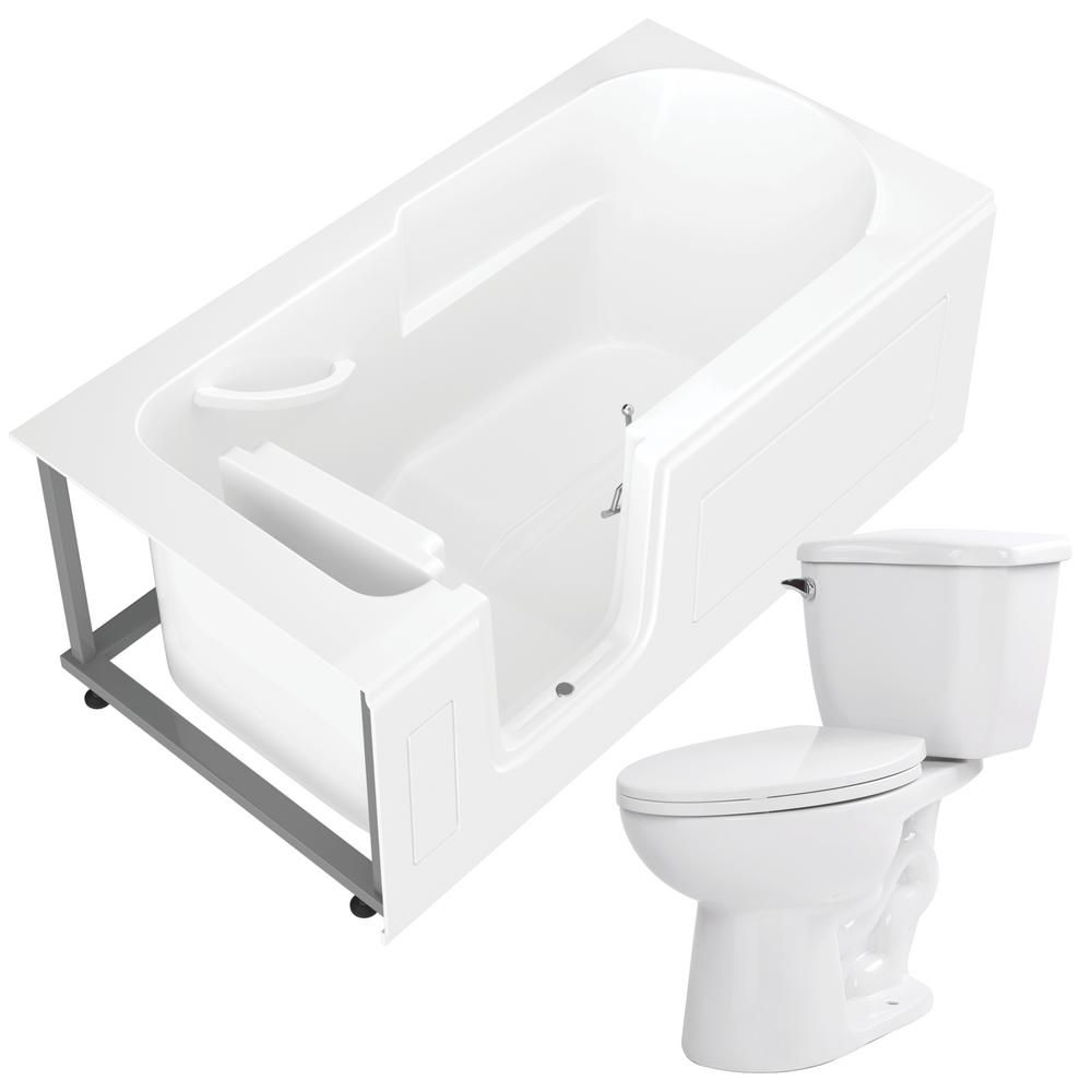 Universal Tubs Nova Heated Step In 59 6 In Walk In Non Whirlpool Bathtub In White With 1 28 Gpf Single Flush Toilet Whirlpool Bathtub Tub Flush Toilet