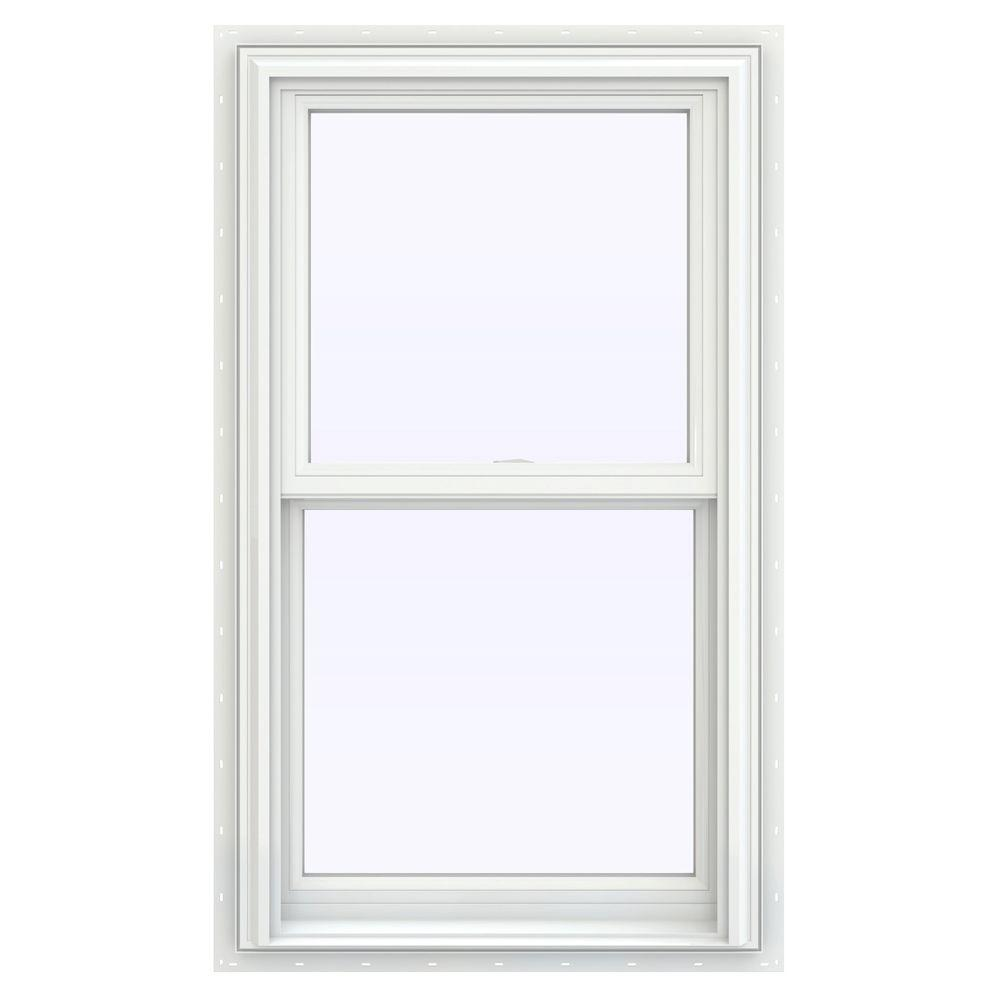 Jeld Wen 23 5 In X 35 5 In V 2500 Series White Vinyl Double Hung Window With Bettervue Mesh Screen Thdjw144400962 The Home Depot In 2020 Double Hung Windows Double Hung Vinyl Windows Double Hung