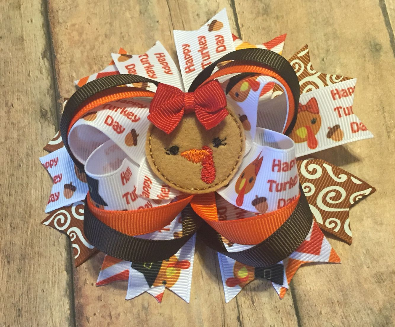 Turkey day hair bow baby girl Thanksgiving toddler fall boutique bow #bowtifulbkessings