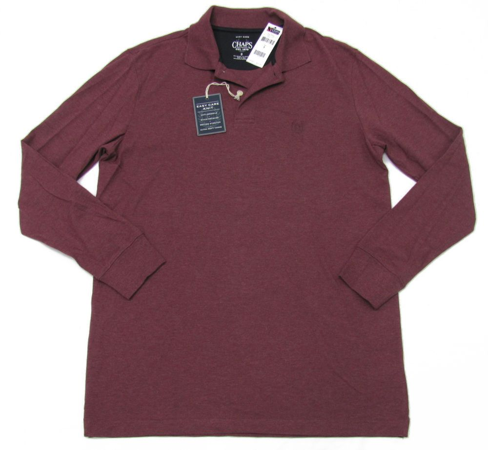 Chaps Mens Red Long Sleeve Polo Shirt Burgundy Heather Easy Care #Chaps #PoloRugby