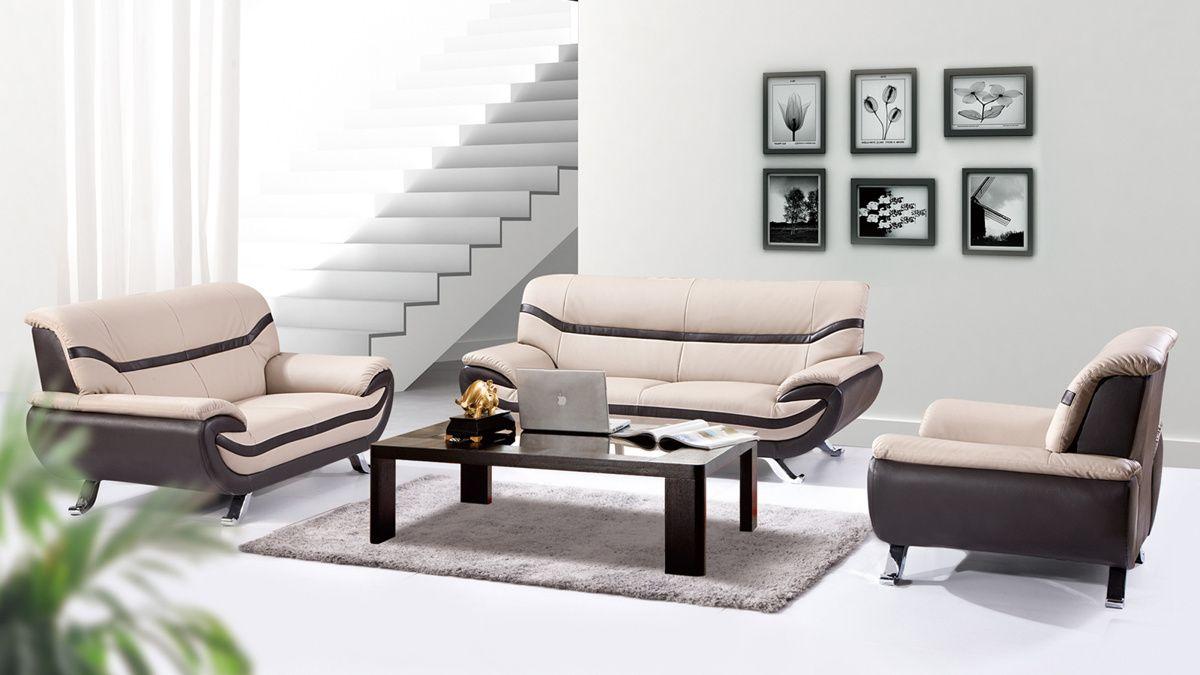 Best Adona Modern Beige Dark Brown Faux Leather Metal Living 400 x 300