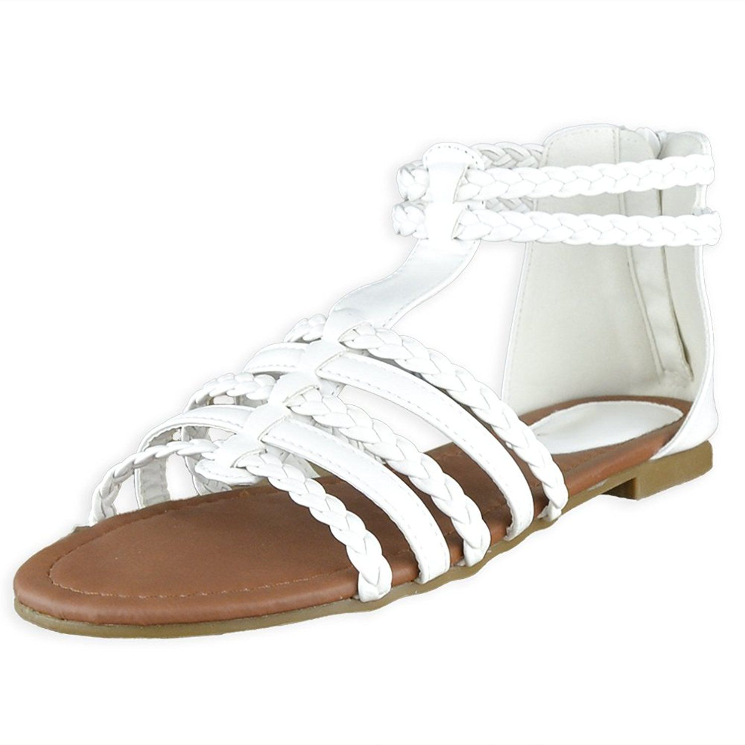 845f77a9e892 Womens Flat Sandals Braided Strappy Gladiator Casual Shoes White    For  more information