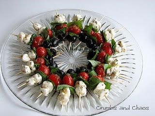 Mozz-Tomato-Olive Skewers  #Christmas #Appetizers