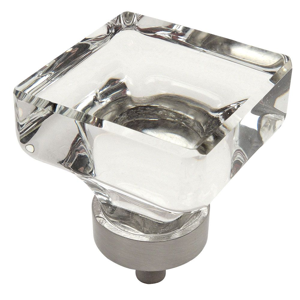 Exceptional Cosmas 6377SN C Satin Nickel U0026 Clear Glass Square Cabinet Knob