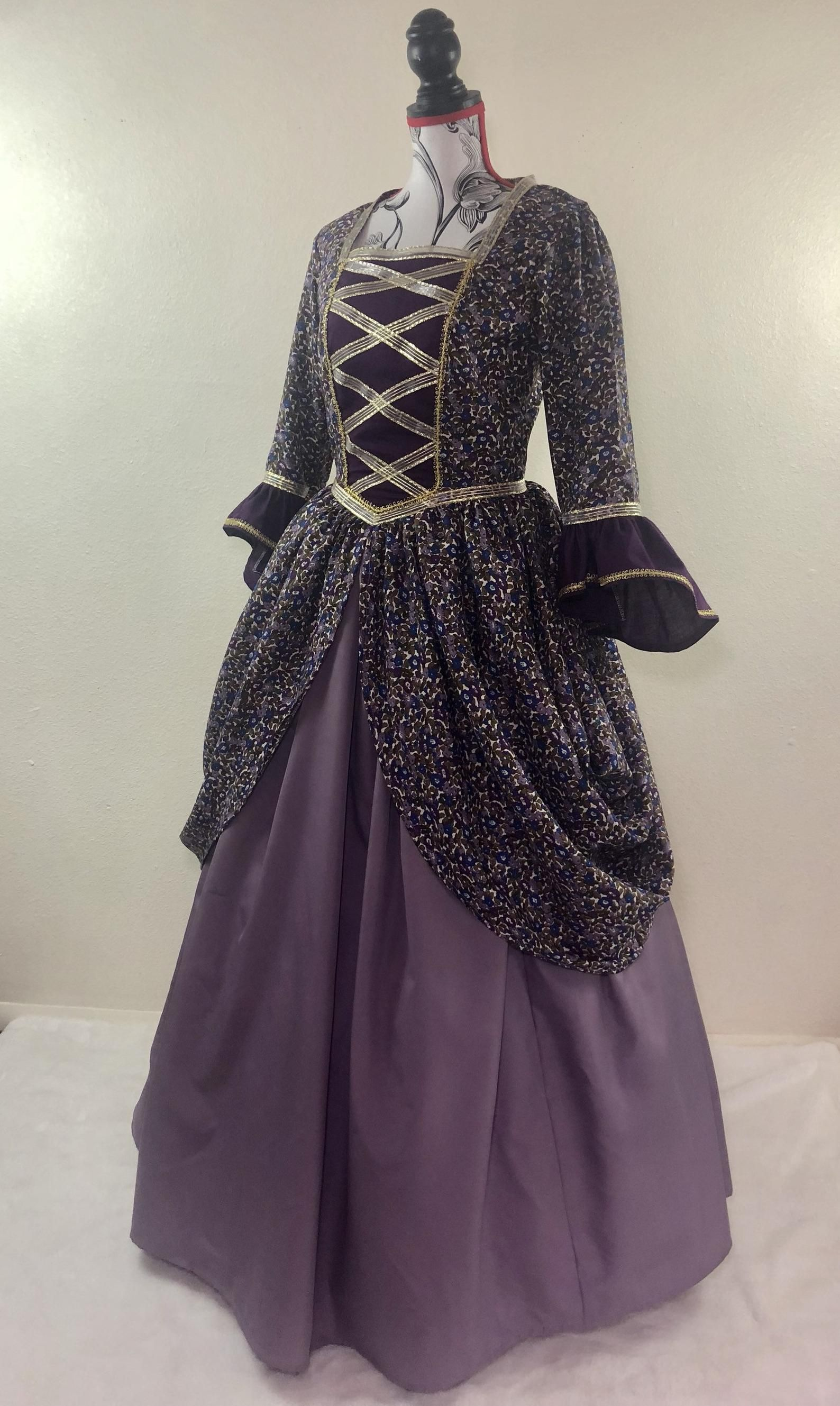 Misses Size 12 Purple And Gold Regal Drape Ball Gown Etsy Ball Gowns Dresses Black Victorian Dress [ 2658 x 1588 Pixel ]
