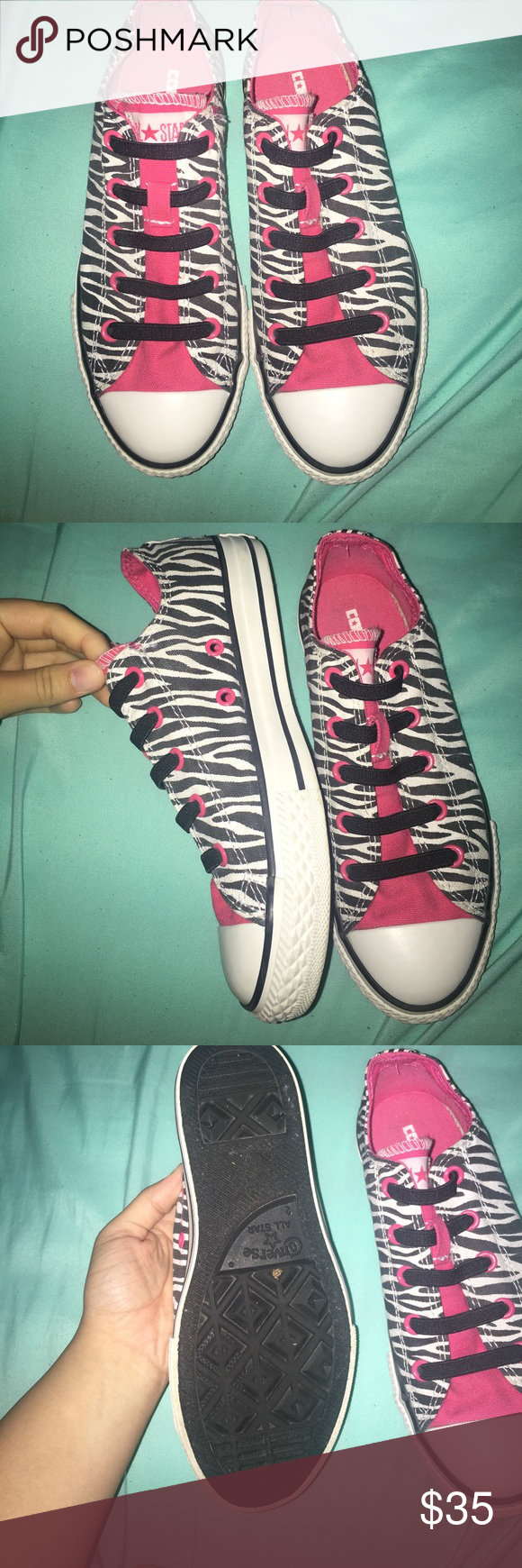 Pink zebra youth converse shoes pink and sneakers
