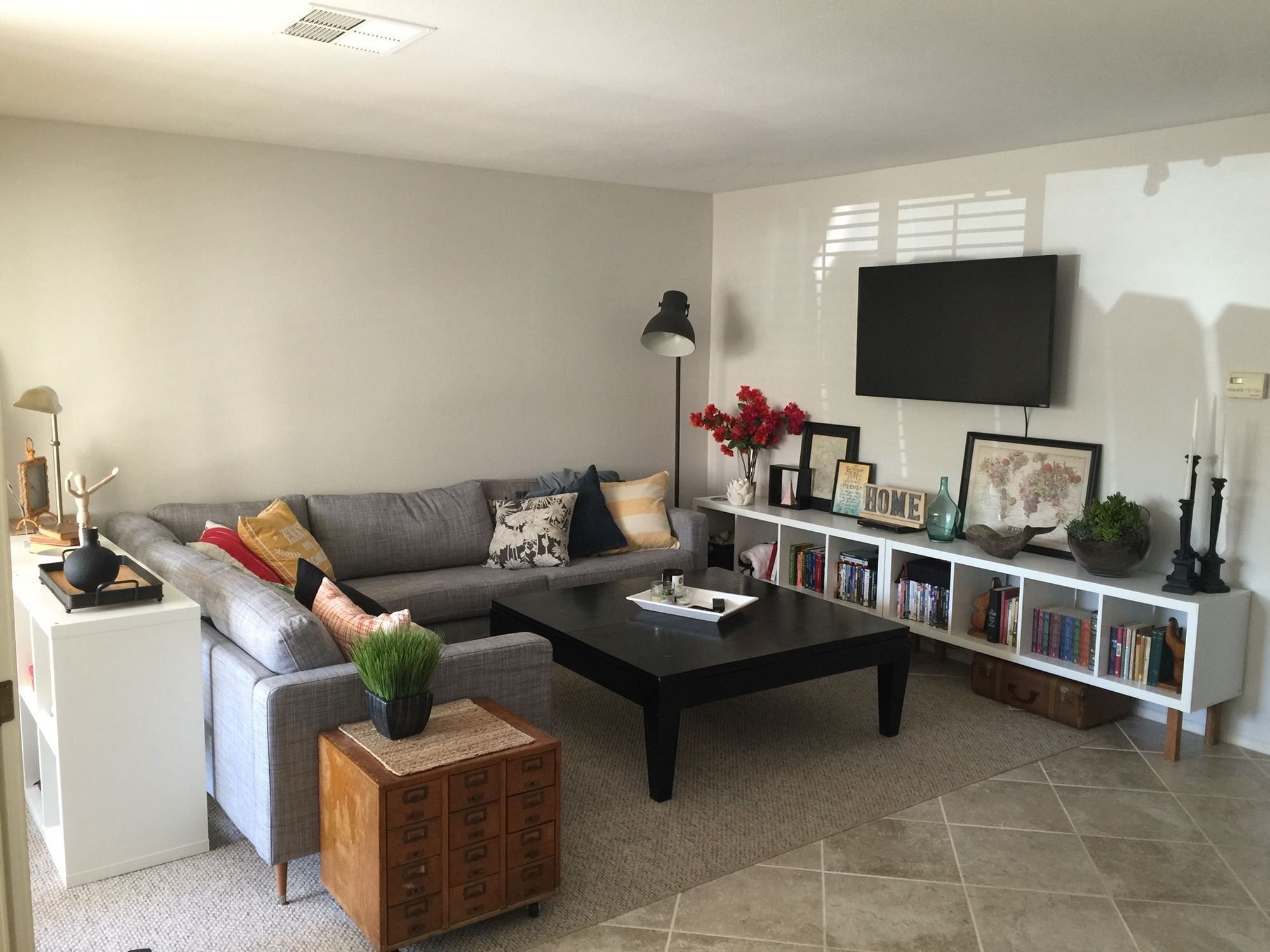 IKEA hacks // Karlstad sectional, replaced legs with wood mid ...