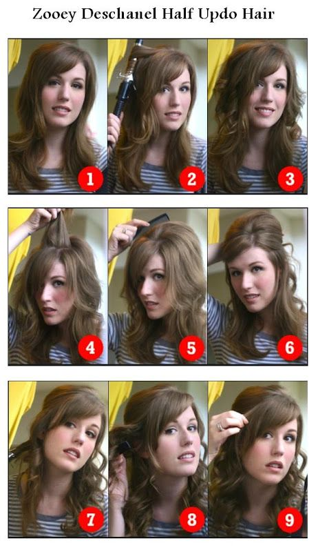Zooey Deschanel Half Updo Hairstyle Hairstyles Tutorial Hair And