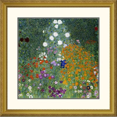 "Global Gallery 'Farmer's Garden' by Gustav Klimt Framed Painting Print Size: 31.94"" H x 32"" W x 1.5"" D"