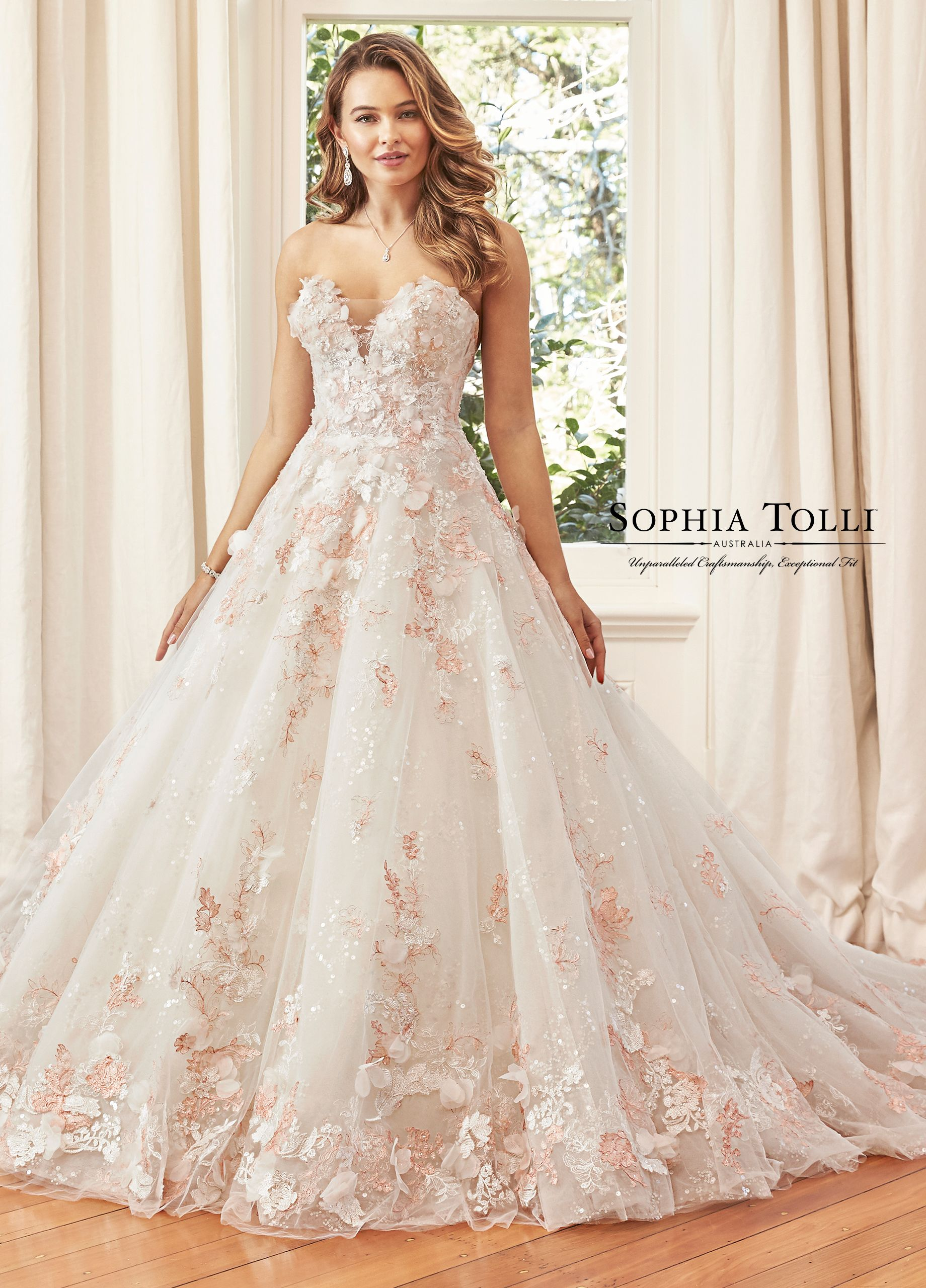 Strapless Misty Tulle Over Sequin Tulle With Lace Ballgown Y11973