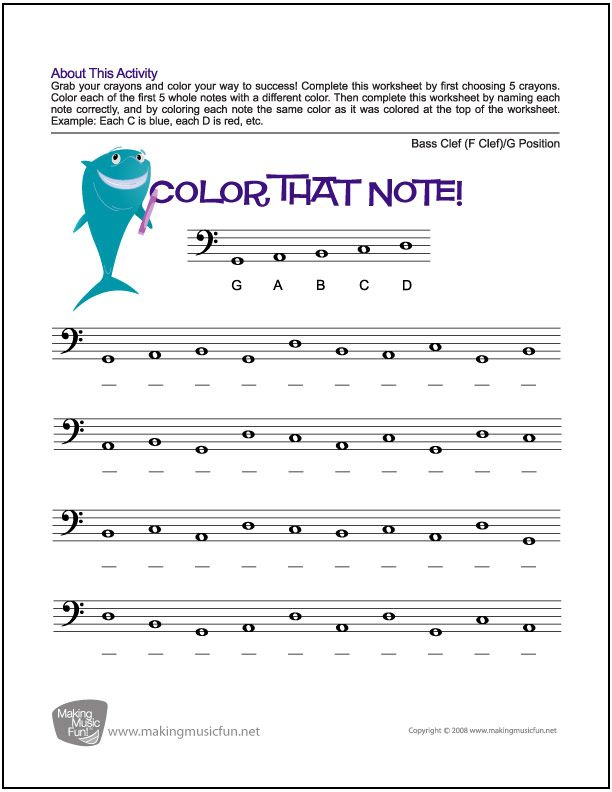Color That Note Free Note Name Worksheet Bass Clef X2f G