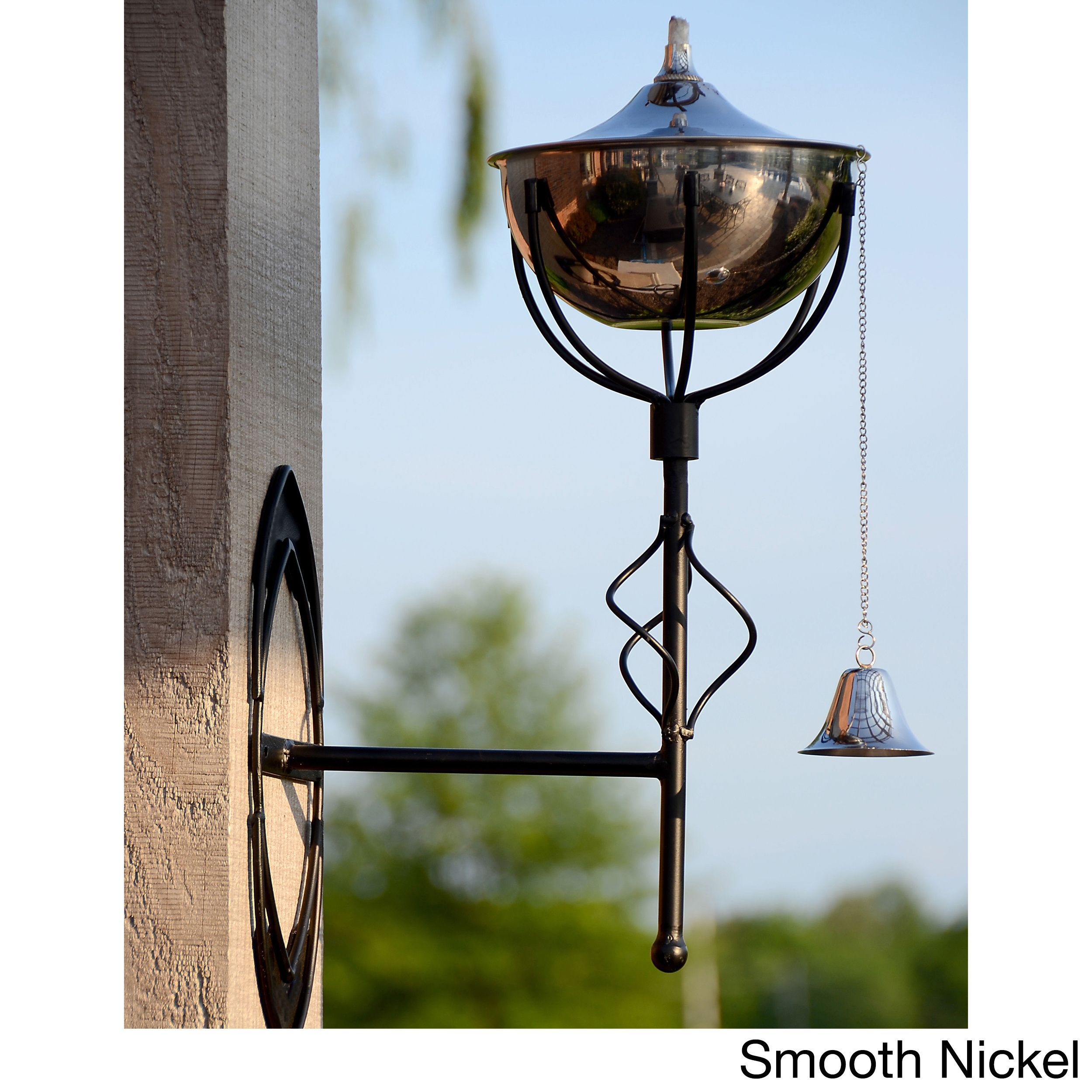 Maui Grande Outdoor Sconce Torches (Set of 2) (Smooth Nickel), Silver (Brass), Outdoor Décor
