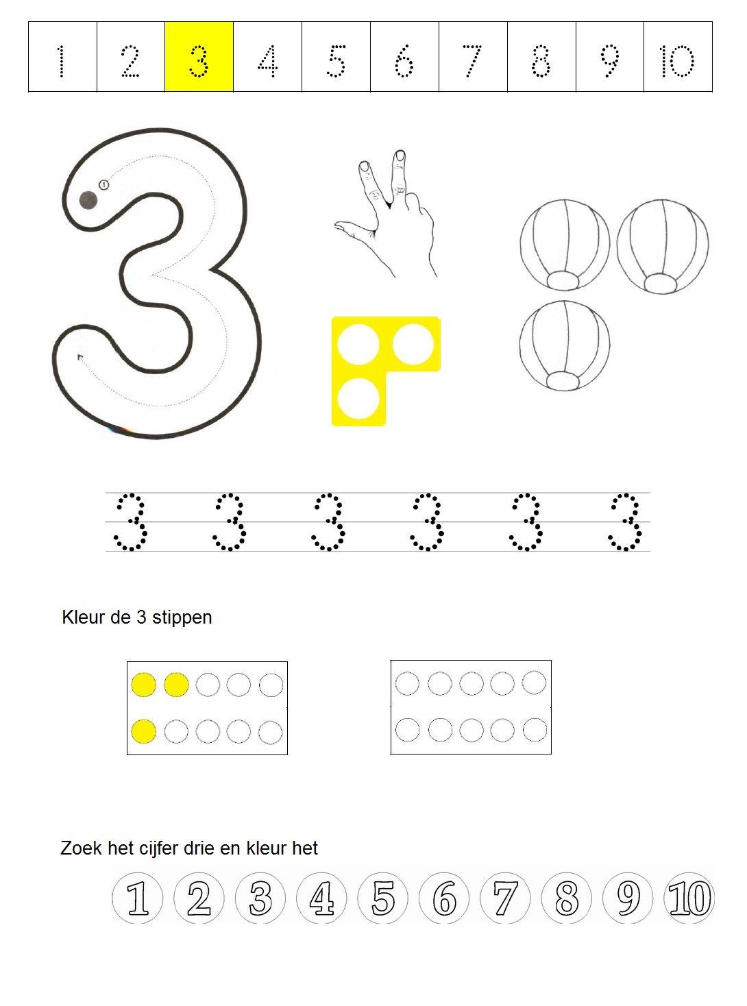 werkblad cijfer 3 | Schrijven | Pinterest | Vorschule, Mathe und Zahlen