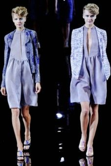 If the one on the right is a romper, I'm sold.  Giorgio Armani Spring 2014 | Milan Fashion Week