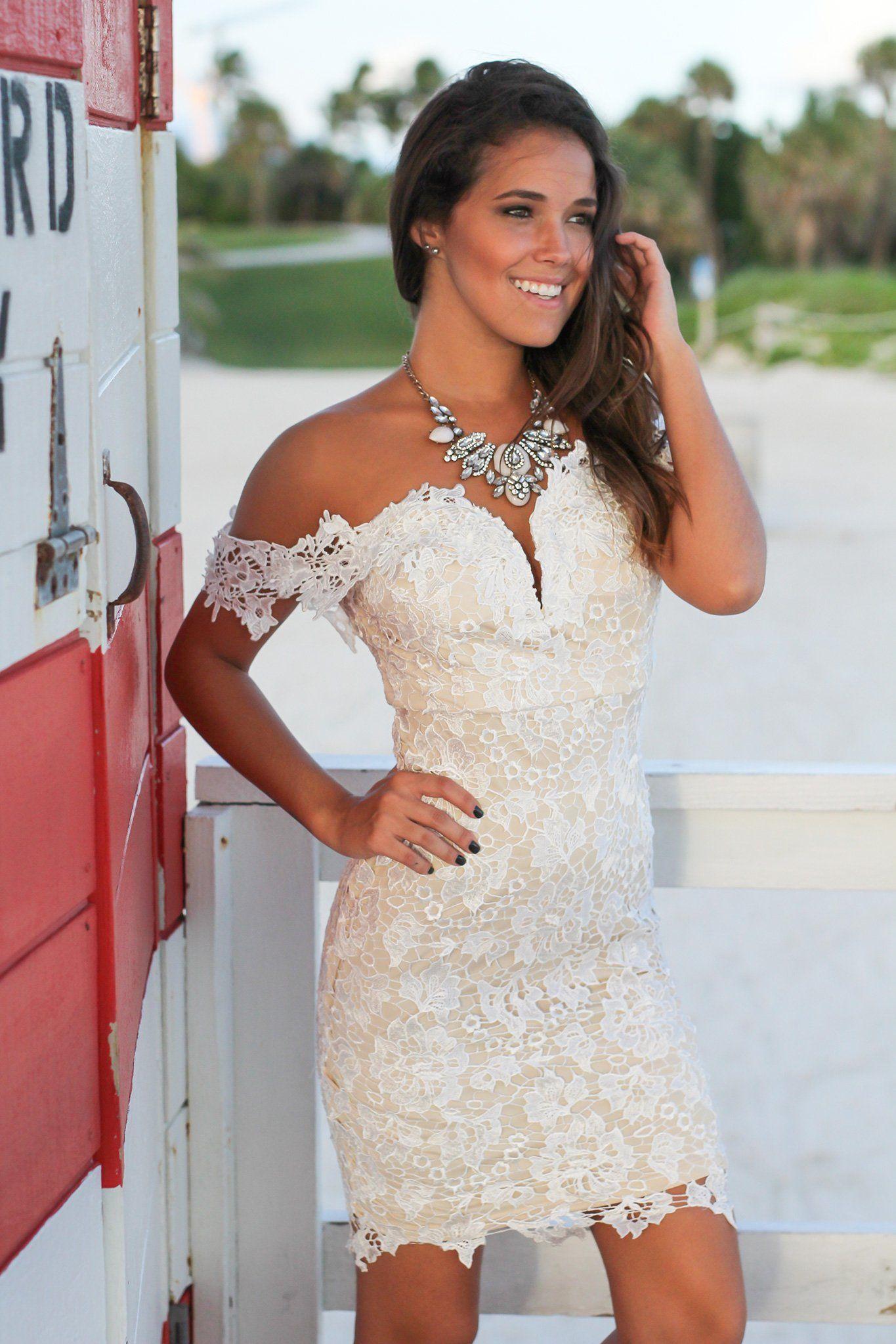 White off shoulder crochet short dress crochet short dresses