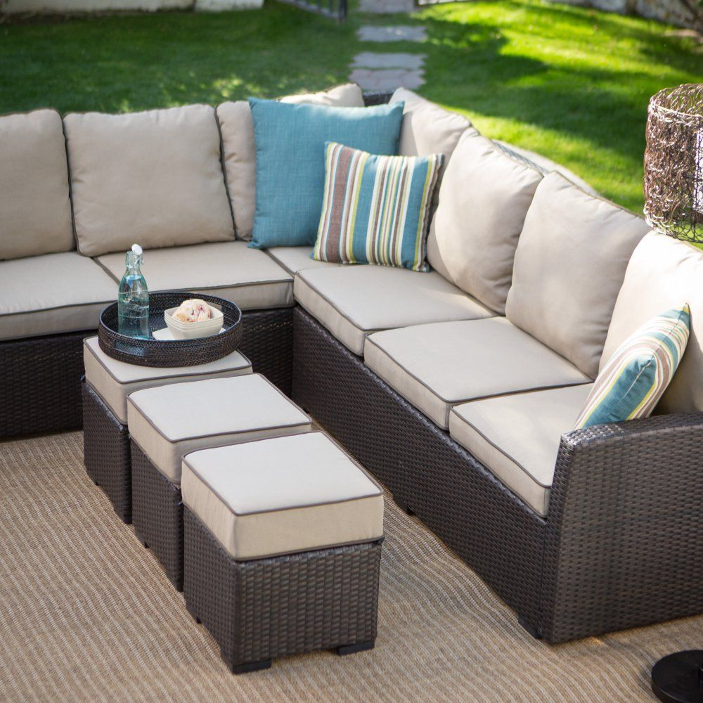 Belham Living Monticello All Weather Outdoor Wicker Sofa Sectional Set Built For Comfort