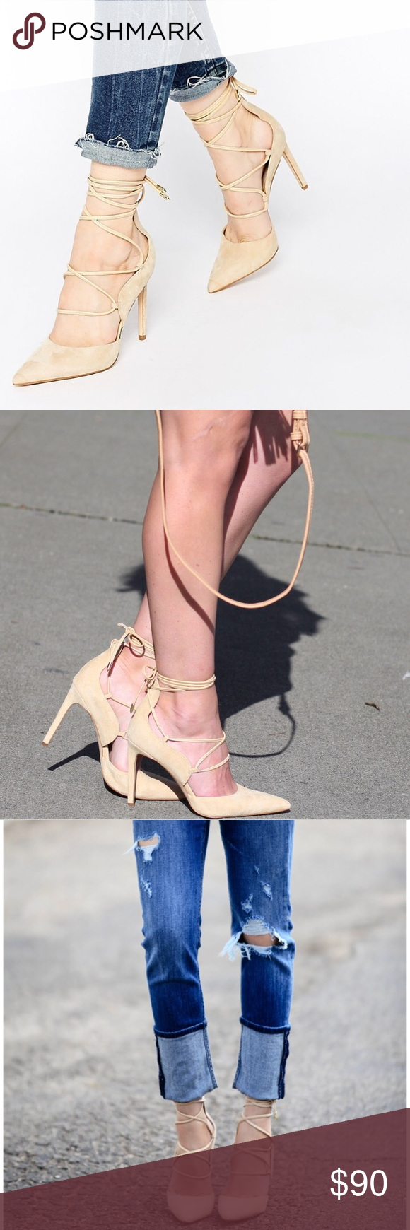 "6e80e7af45d3 SAM EDELMAN DAYNA LACE UP POINTED TOE NUDE PUMPS Worn twice. 4""  slim stiletto heel. Genuine leather suede. 🔥 Sam Edelman Shoes Heels"