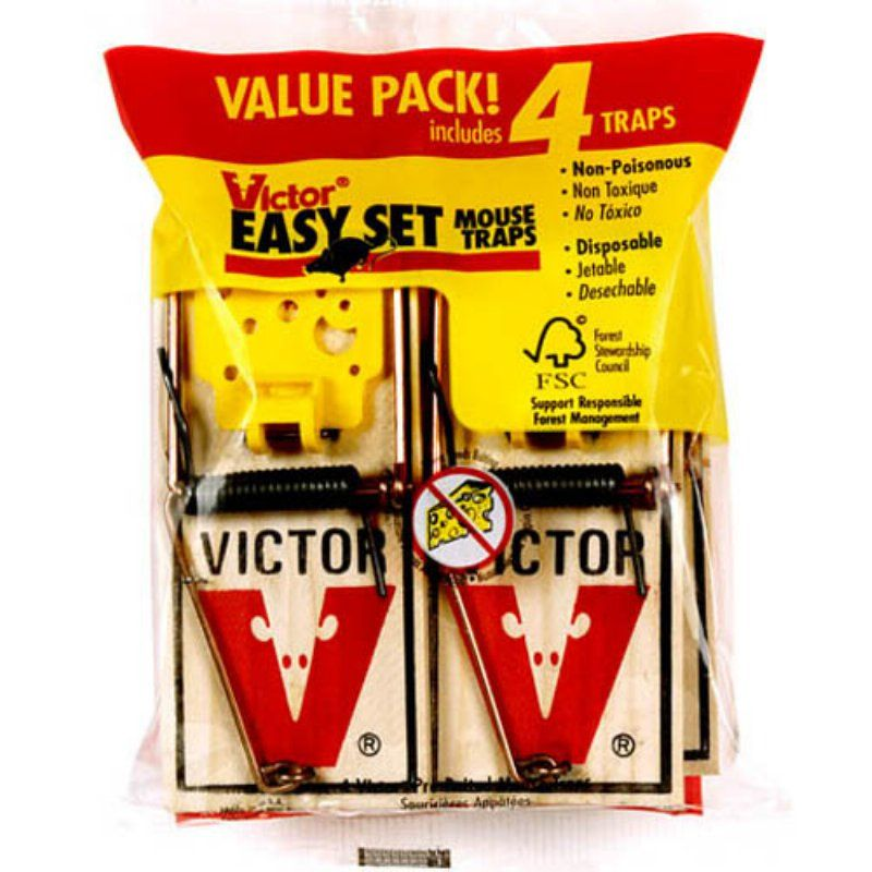 Victor M032 Easy Set Mouse Traps 4 Count - 1386-1430
