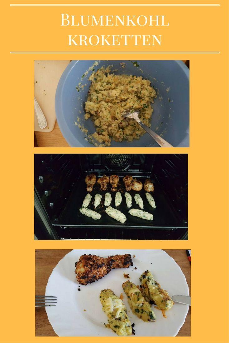 Blumenkohl-Kroketten (grün-weiß) 1/2 Blumenkohl nur die Röschen kochen. Danach in einem Tuch die Flüssigkeit ausdrücken (sonst werden sie zu matschig). 1 Scheibe Schalotten würfeln frische Kräuter und Adiossalz 1 Ei 1 EL Olivenöl 1 EL Sojamehl etwas leichten Reibekäse alles samt Blumenkohl ordentlich durchkneten und kleine Rollen formen - mit Olivenöl bestreichen - bei 180 Grad a. halbe Stunde in den Backofen. So lecker kann abnehmen sein!