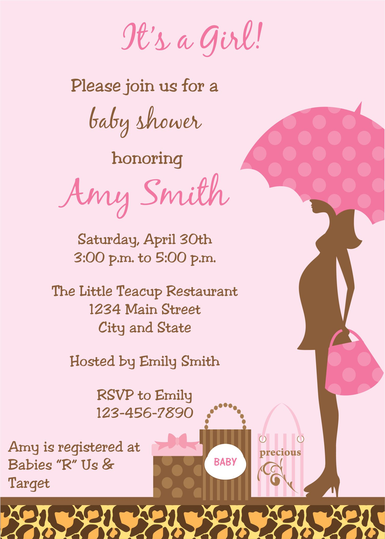 Leopard Print Expecting Mom Baby Shower Invitations at ...