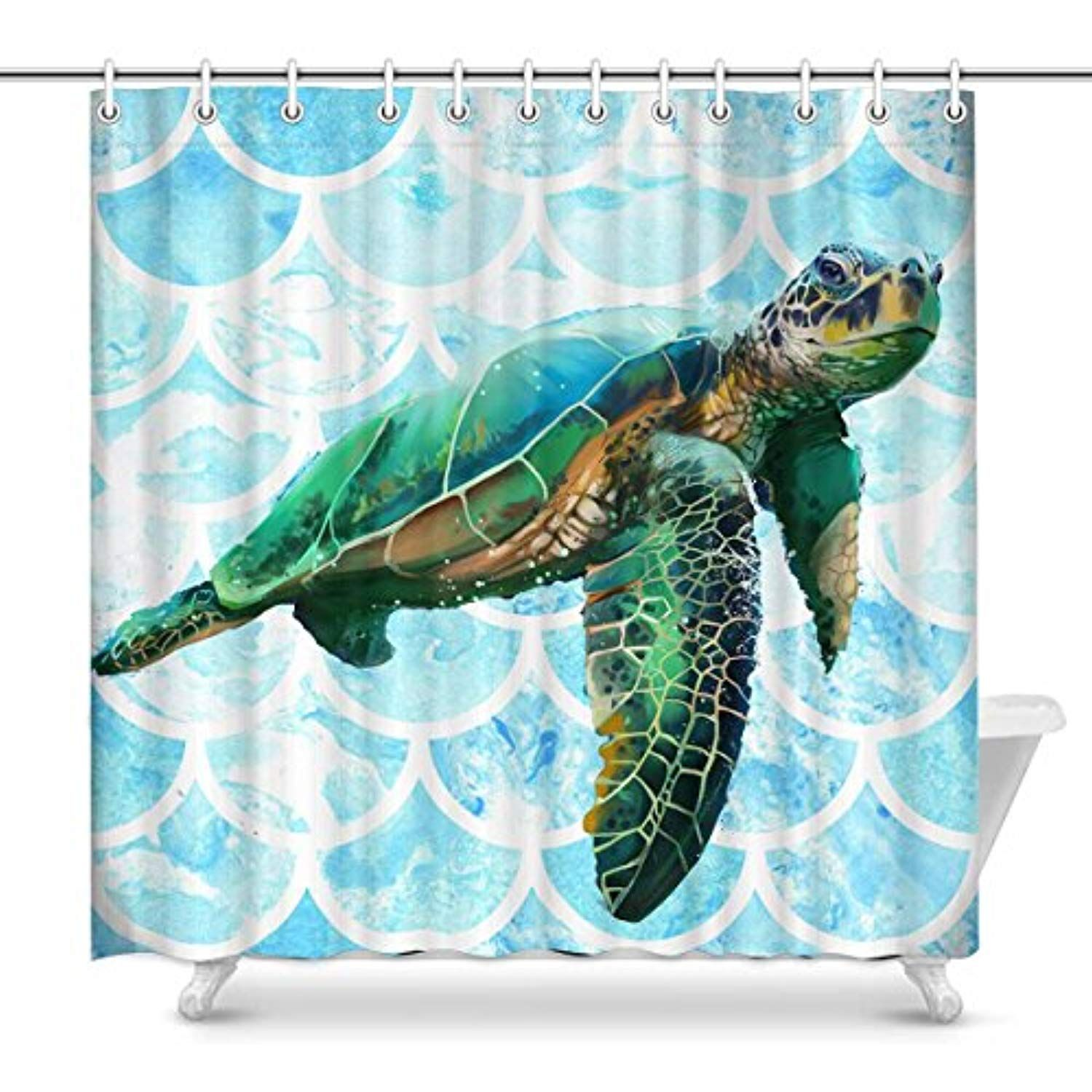 InterestPrint Unique Beautiful Sea Turtles Shower Curtain Home Decor Collection Bath Waterproof Fabric Bathroom With Hooks69x72