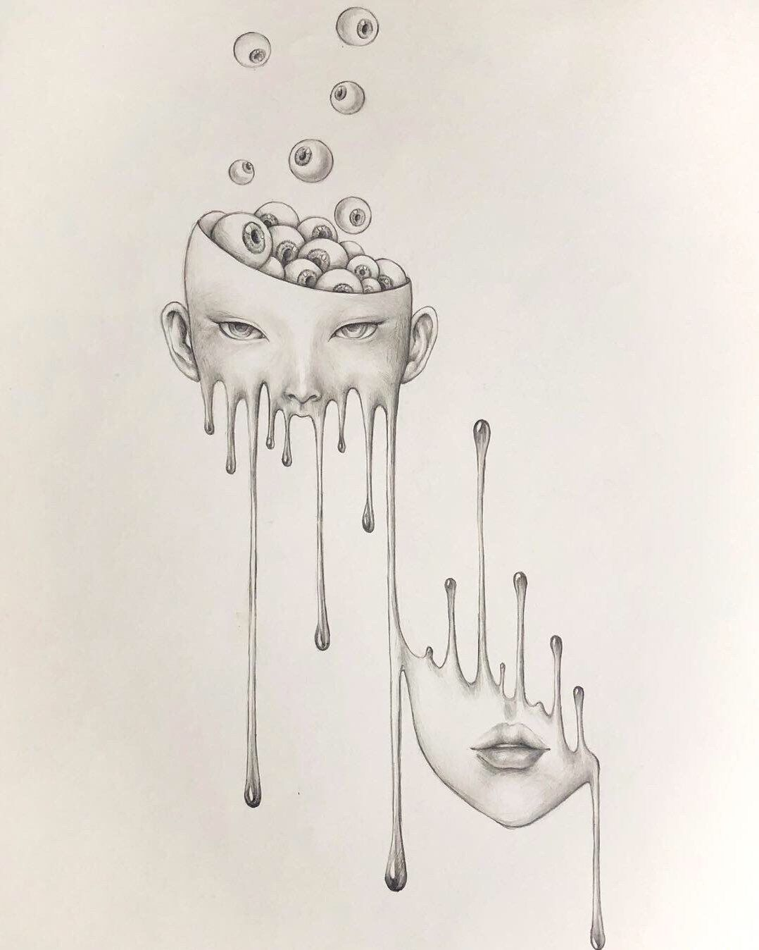 limit autographed print, melting Girl with eyeball, surreal pencil drawing, horror Wall Decor, dark art, popsurrealism dark fantasy pop