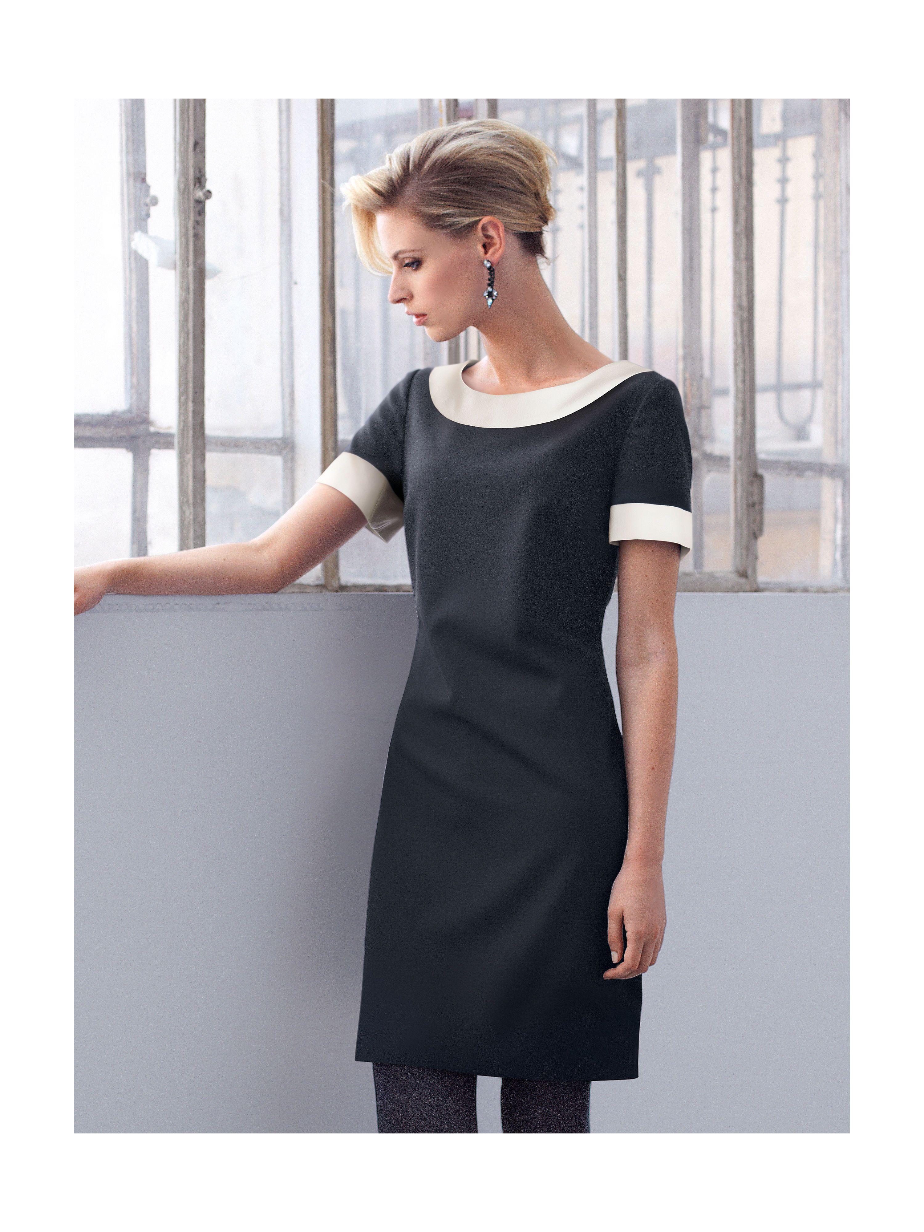 Uta Raasch - Kleid mit 18/18-Arm - Schwarz/Ecru  Damen abendkleider