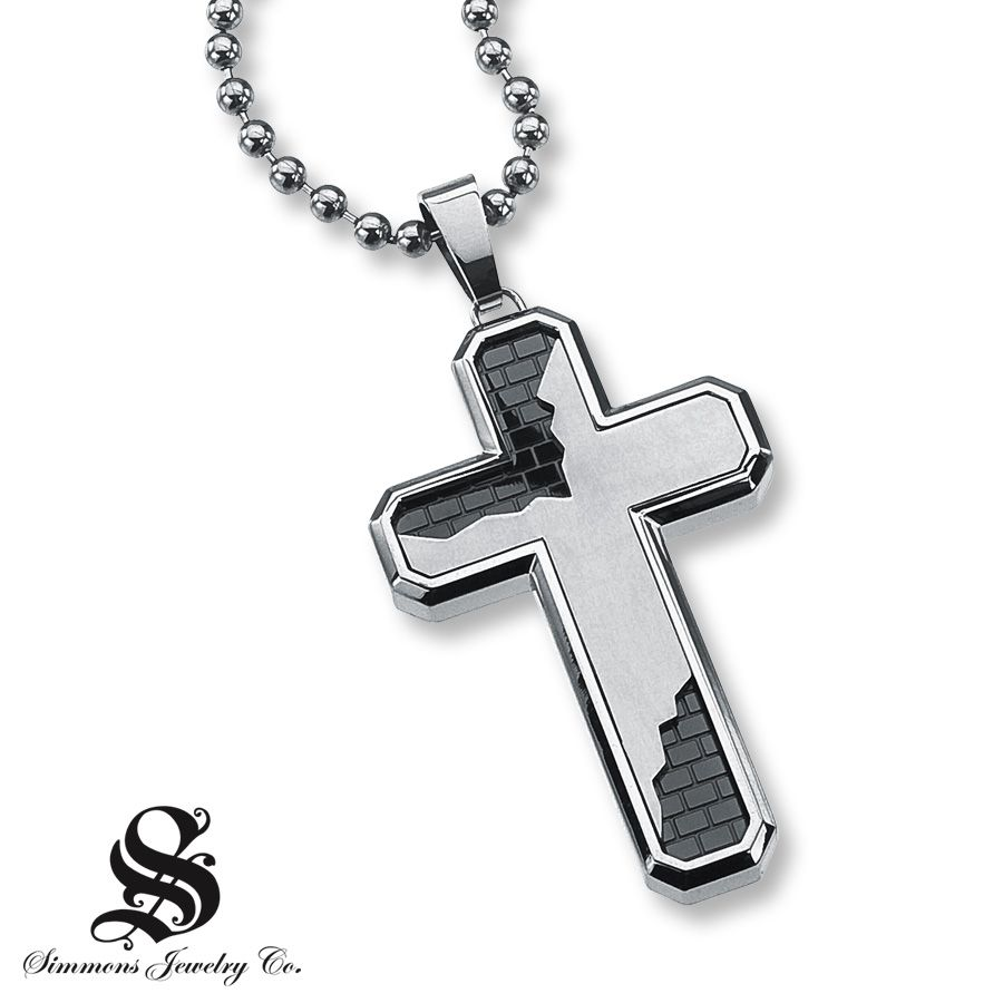 ➳➳➳♡Men's Cross Necklace Diamond Accent Stainless Steel