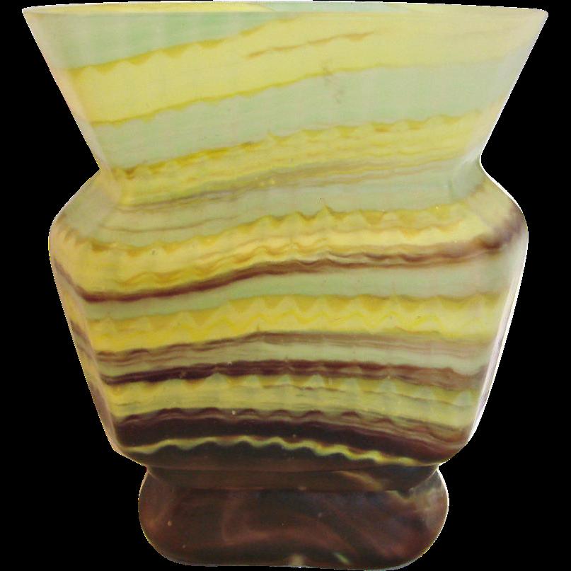 Bohemian Czech Kralik Rectangular 6 Sided Art Glass Vase Signed