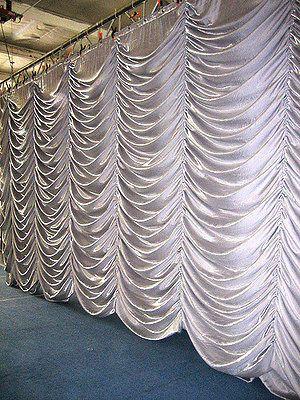 White 6 Mtr X 3 Mtr Backdrop Austrian Ruffled Curtain