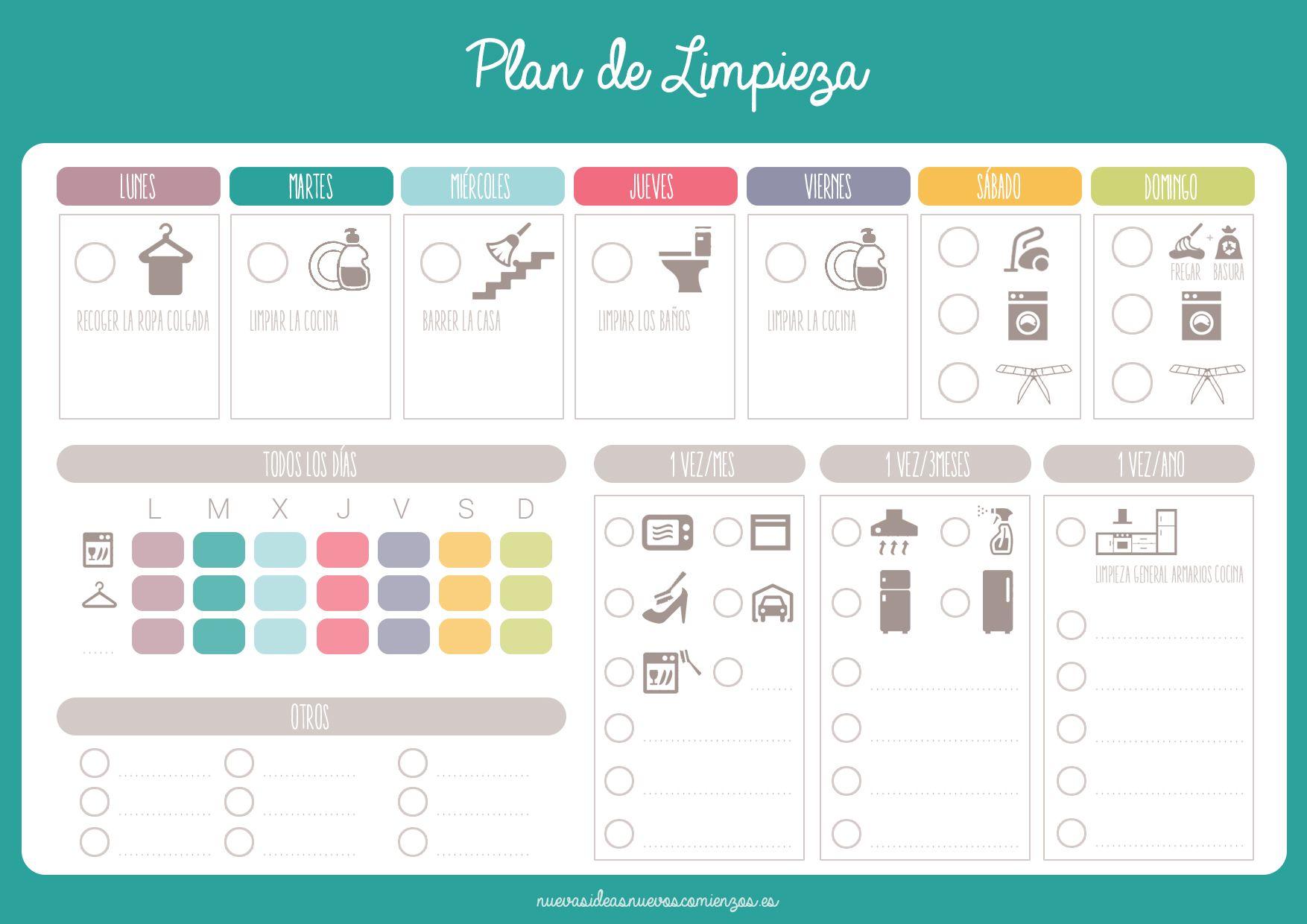 Horario De Limpieza Home Pinterest Horario De Limpieza  ~ Por Donde Empezar A Limpiar Una Casa