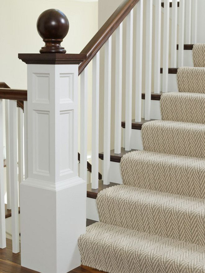 This Staircase Features A Classic Gray Herringbone Stair Runner.Family Home  Interior Ideas