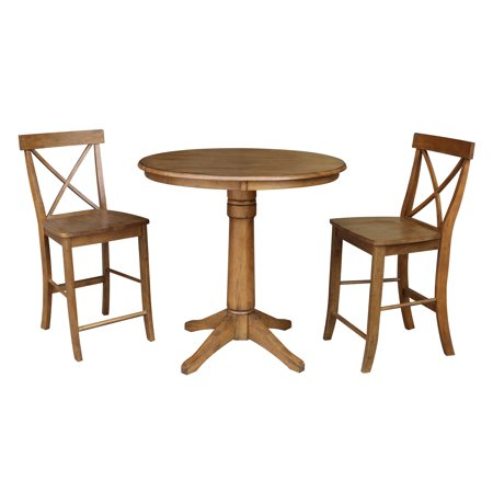 Wondrous Round 36 Inch Counter Height Table With 2 X Back Stools Gmtry Best Dining Table And Chair Ideas Images Gmtryco