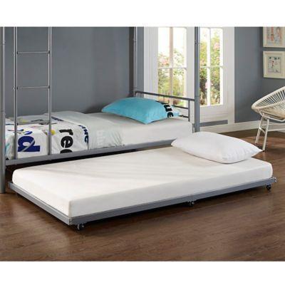Walker Edison Twin Trundle Bed Frame In Silver Trundle Bed Frame Twin Trundle Bed Bed Frame