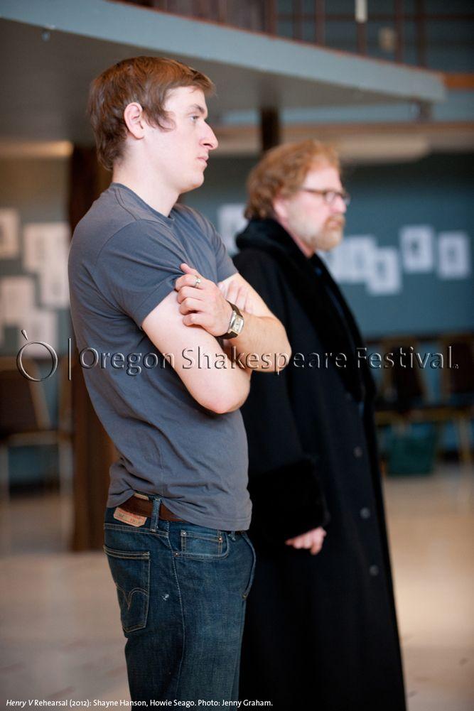 Oregon Shakespeare Festival. HENRY V Rehearsal (2012): Shayne Hanson, Howie Seago. Photo: Jenny Graham.
