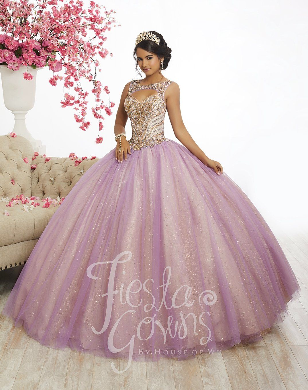 5709c847a03 Two-Tone Tulle Quinceanera Dress by Fiesta Gowns 56344 in 2019 ...