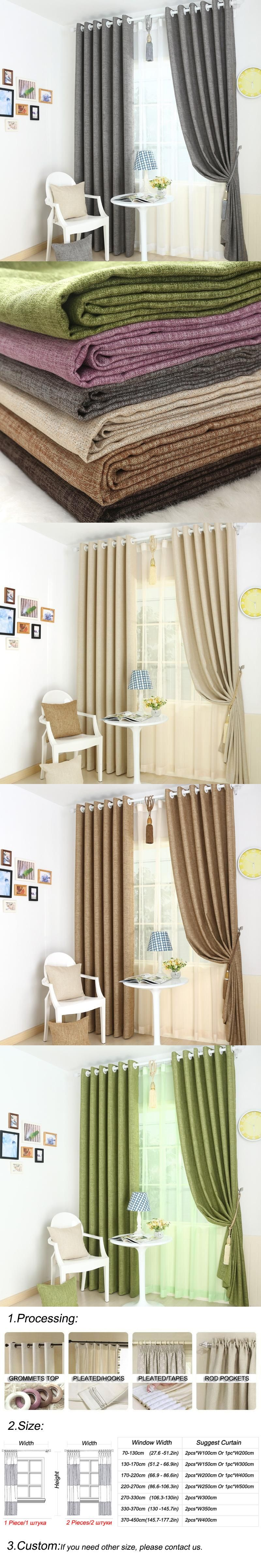 Window top decor  full blackout curtain drapes for bedroom linen finished blinds
