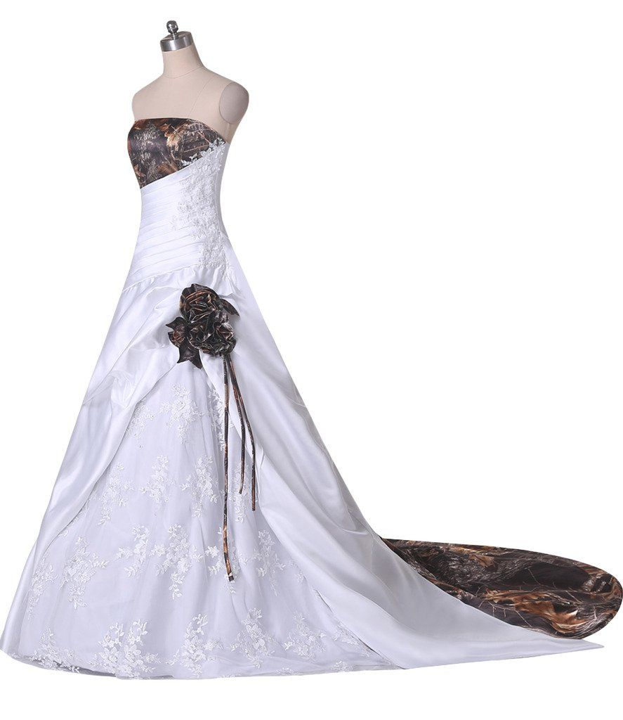 Milano bride classy ball gown strapless lace camo wedding dress prom