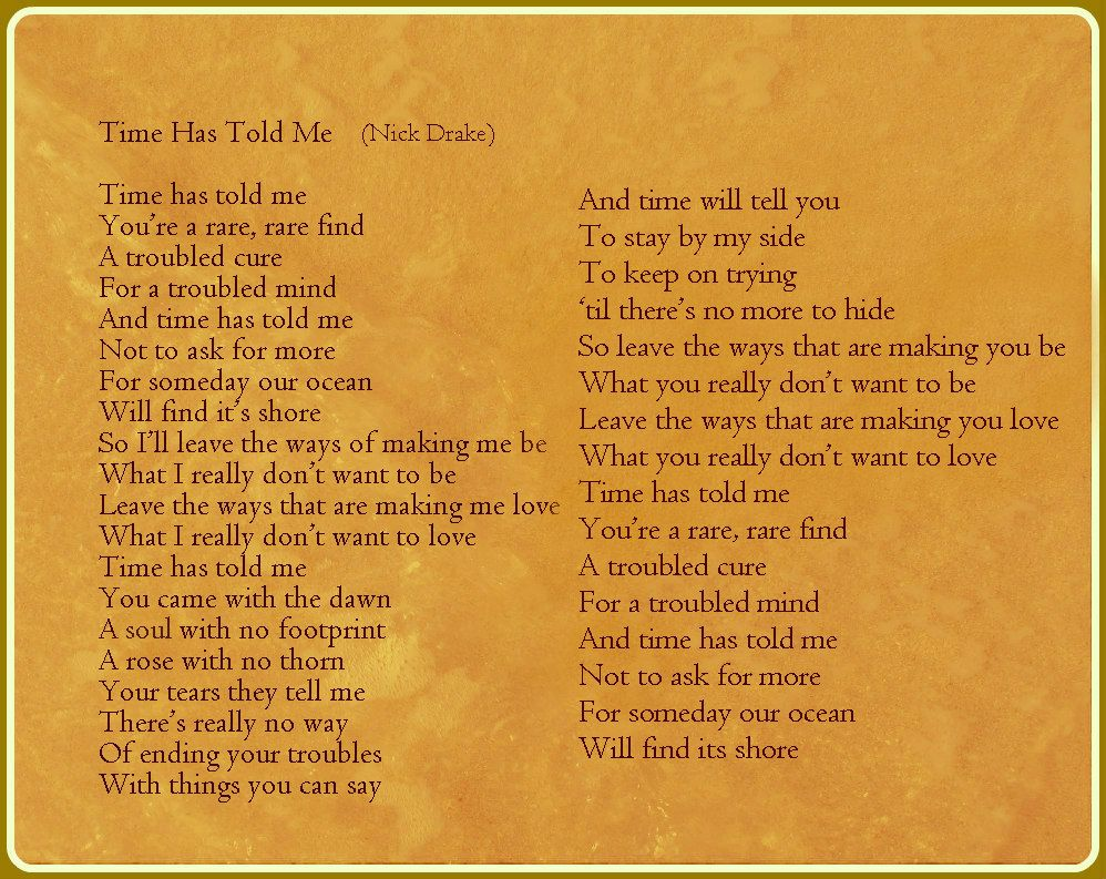 One of the most profound lyrics of Nick Drake. Discover