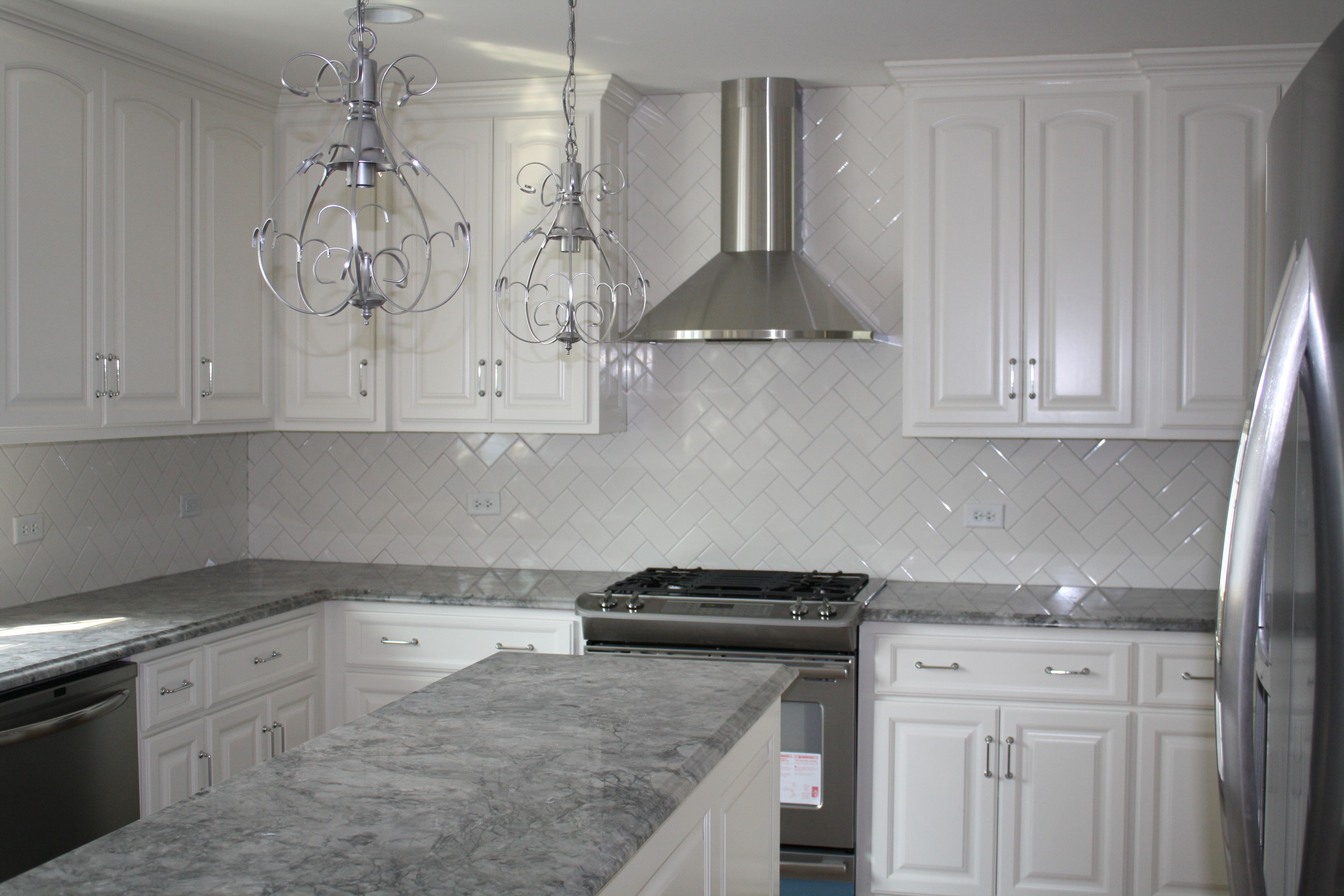 Gray Granite White Cabinets With
