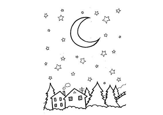 tekening maan sterren zoeken dag en nacht
