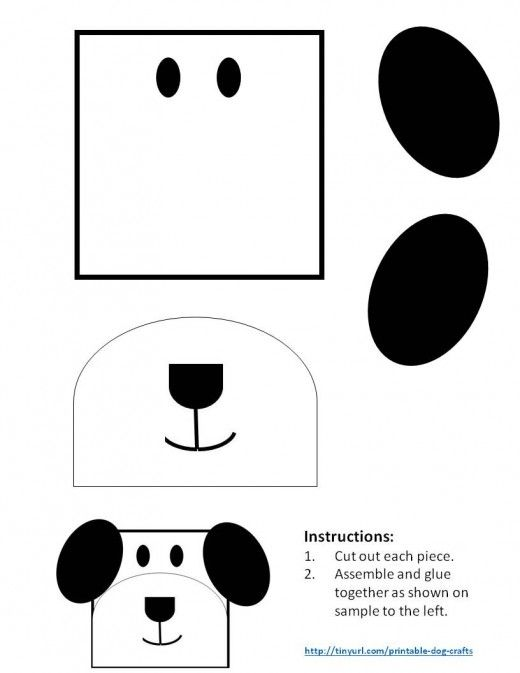Printable Dog Patterns With Simple Shapes For Kids Crafts Dog