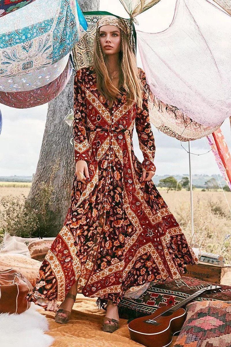 autumn occident fashion vintage hippie ethnic floral print maxi