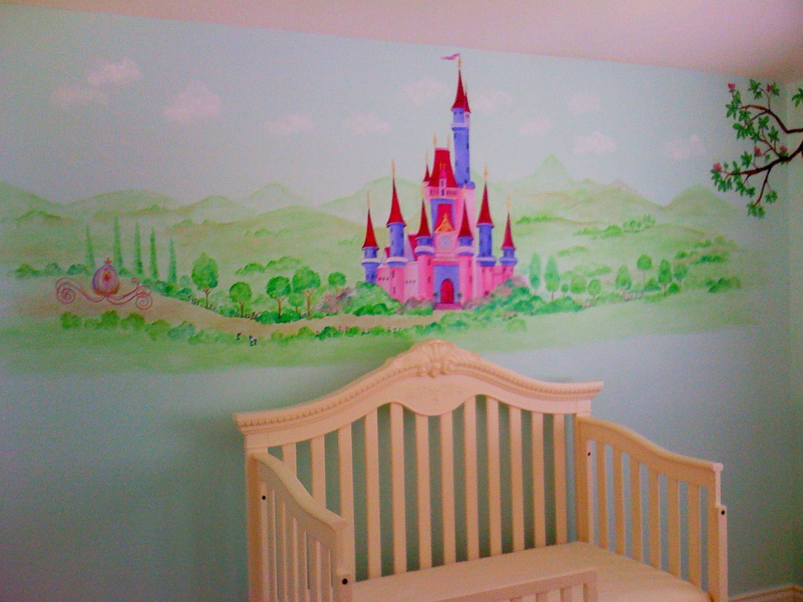 Princess And Castle Archives Hand Painted Murals For Children Minnie Amp  Deasy Disney Wallpaper Girl Room Homewallmurals Part 59