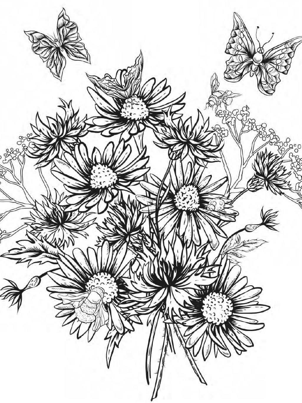 Beautiful Flowers Detailed Floral Designs Coloring Book Preview