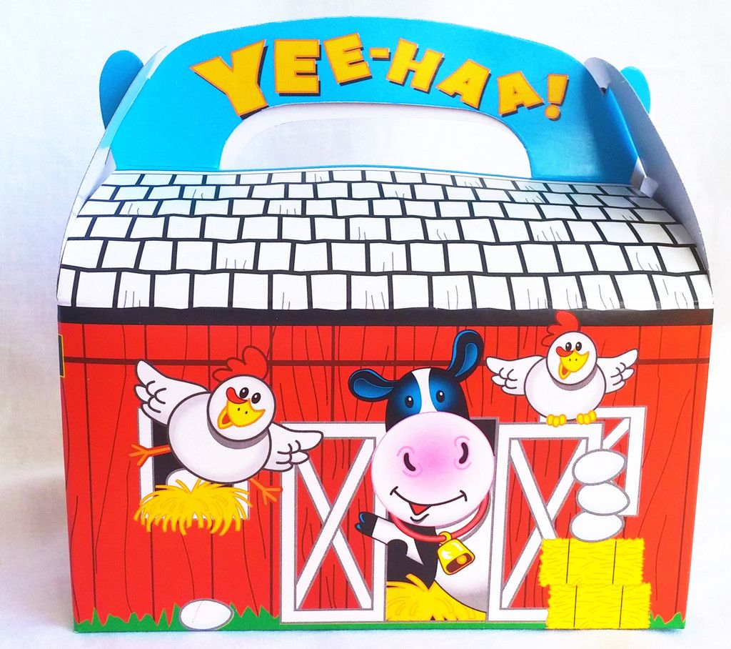 Red Barn Favor Box ready to be filled with Farm Theme vinyl farm animals, pretend hay and more. Available on Heart Felt Play Store. Sold individually.